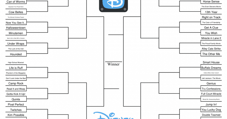 Disney Channel Original Movie Printable Bracket